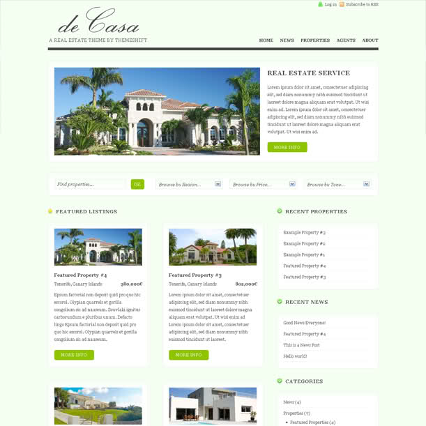 ThemeShift deCasa Real Estate Premium Wordpress Theme