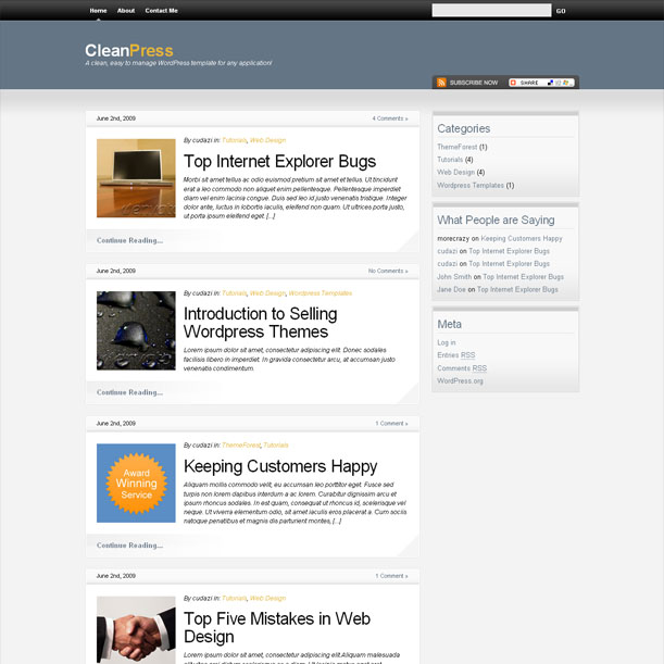 CleanPress White Portfolio Premium Wordpress Theme