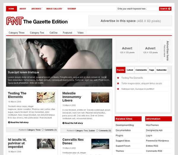 The Gazette Edition Wordpress Theme