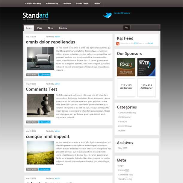 Standard Simple Brown Color Premium Wordpress Theme