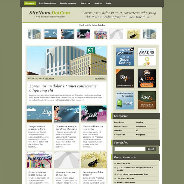 A Classy Green Color Online Portfolio Premium Wordpress Theme