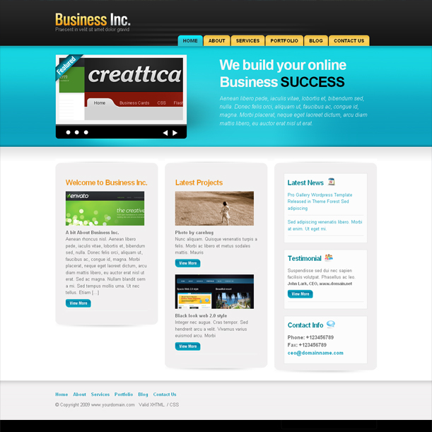 Business Inc. Blue Color E-Business Premium Wordpress Theme