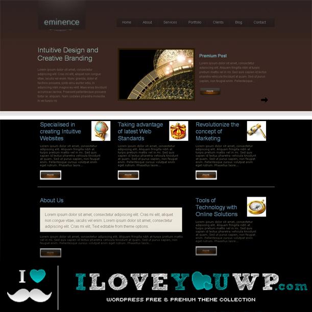 Eminence Dark Brown Color Portfolio Premium Wordpress Theme