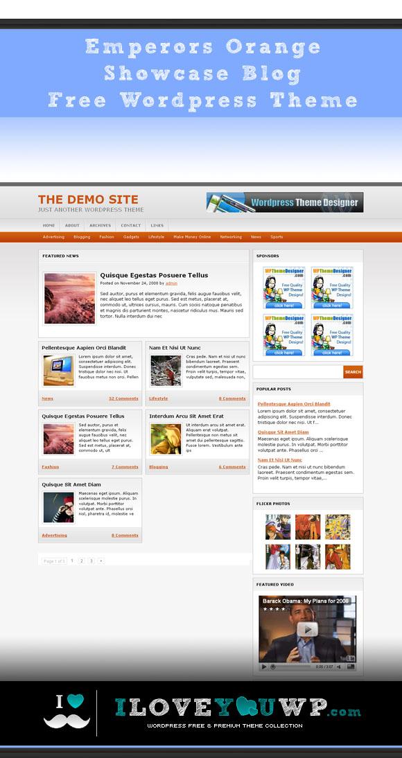 Emperors Orange Showcase Blog Free Wordpress Theme - iloveyouwp