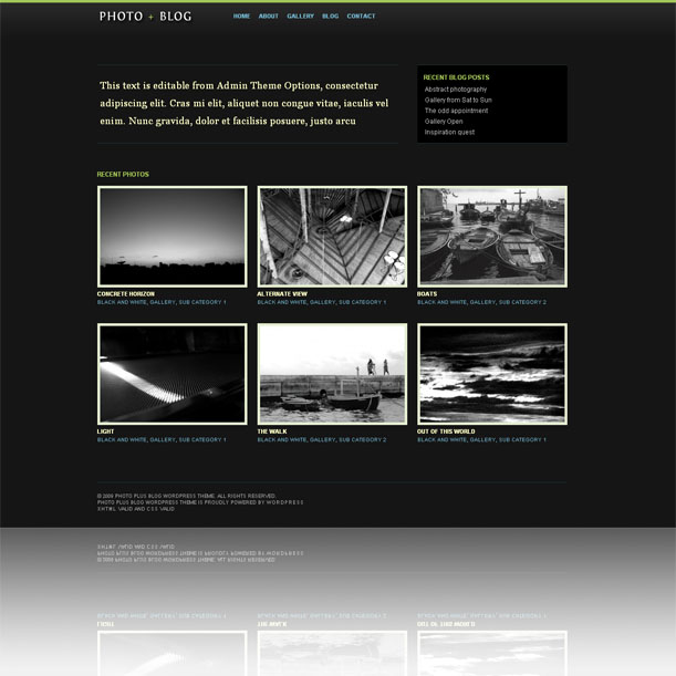 Dark Photoblog  Showcase Style Premium Wordpress Theme