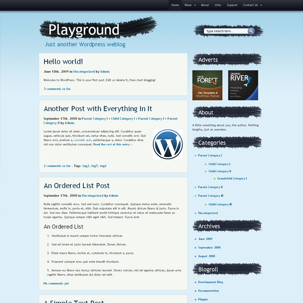 Playground Blue Color Premium Wordpress Theme