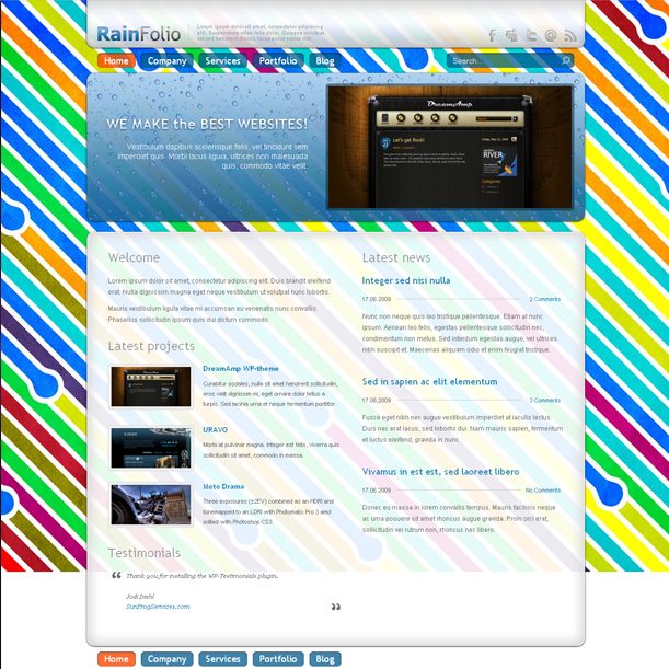 RainFolio Rainbow Portfolio Premium Wordpress Theme