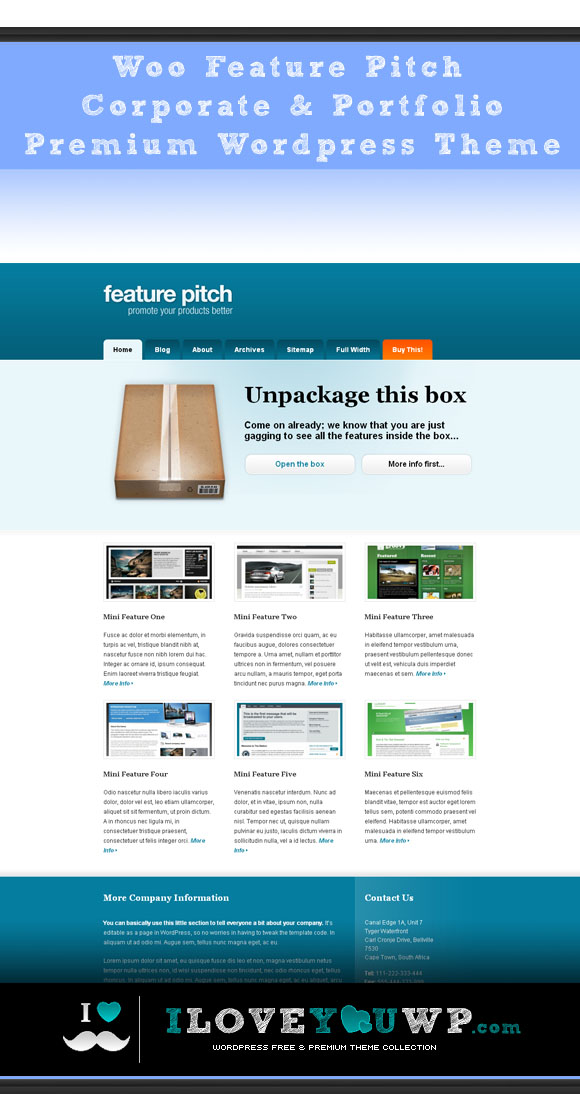 Woo Feature Pitch Corporate & Portfolio Premium Wordpress Theme ...