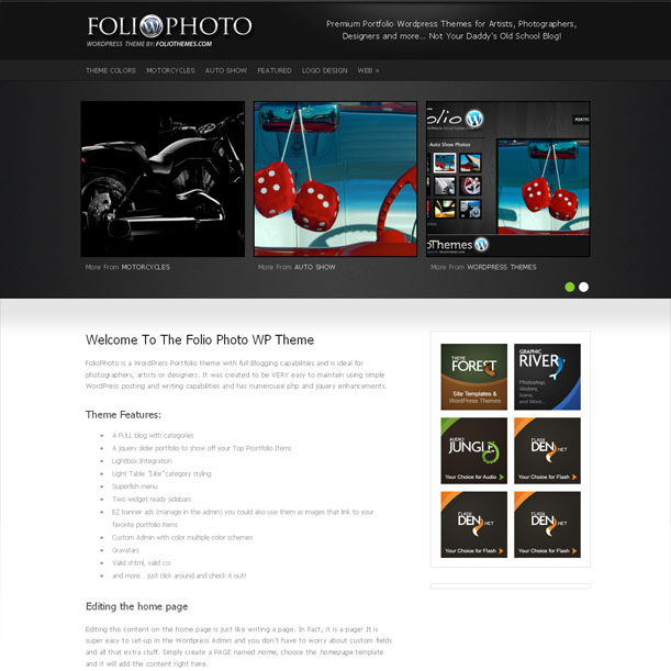 Folio Photo Photography Portfolio Premium Wordpress Theme